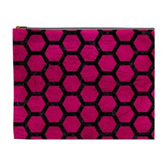 Hexagon2 Black Marble & Pink Leather Cosmetic Bag (xl) by trendistuff