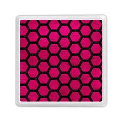 Hexagon2 Black Marble & Pink Leather Memory Card Reader (square)  by trendistuff