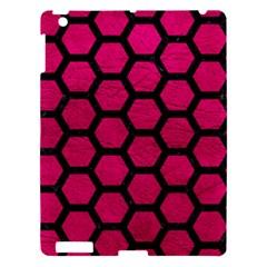 Hexagon2 Black Marble & Pink Leather Apple Ipad 3/4 Hardshell Case by trendistuff