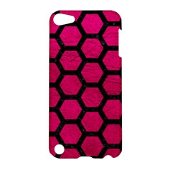 Hexagon2 Black Marble & Pink Leather Apple Ipod Touch 5 Hardshell Case by trendistuff