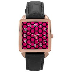 Hexagon2 Black Marble & Pink Leather Rose Gold Leather Watch  by trendistuff