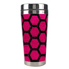 Hexagon2 Black Marble & Pink Leather Stainless Steel Travel Tumblers by trendistuff