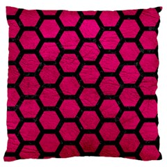 Hexagon2 Black Marble & Pink Leather Large Flano Cushion Case (two Sides) by trendistuff