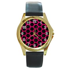Hexagon2 Black Marble & Pink Leather (r) Round Gold Metal Watch by trendistuff