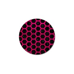 Hexagon2 Black Marble & Pink Leather (r) Golf Ball Marker (4 Pack) by trendistuff