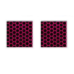 Hexagon2 Black Marble & Pink Leather (r) Cufflinks (square) by trendistuff