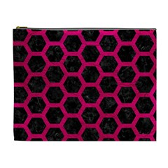 Hexagon2 Black Marble & Pink Leather (r) Cosmetic Bag (xl) by trendistuff