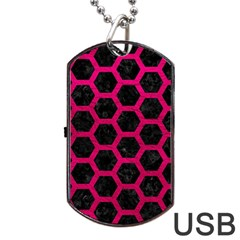 Hexagon2 Black Marble & Pink Leather (r) Dog Tag Usb Flash (one Side) by trendistuff