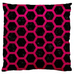 Hexagon2 Black Marble & Pink Leather (r) Large Cushion Case (two Sides) by trendistuff