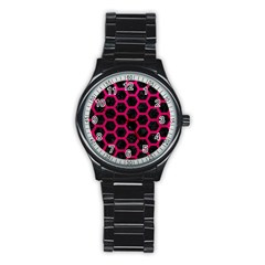 Hexagon2 Black Marble & Pink Leather (r) Stainless Steel Round Watch by trendistuff