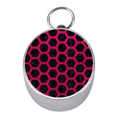 Hexagon2 Black Marble & Pink Leather (r) Mini Silver Compasses by trendistuff