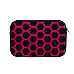 Hexagon2 Black Marble & Pink Leather (r) Apple Macbook Pro 13  Zipper Case by trendistuff