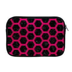 Hexagon2 Black Marble & Pink Leather (r) Apple Macbook Pro 17  Zipper Case by trendistuff