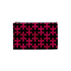 Puzzle1 Black Marble & Pink Leather Cosmetic Bag (small)  by trendistuff