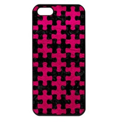 Puzzle1 Black Marble & Pink Leather Apple Iphone 5 Seamless Case (black) by trendistuff
