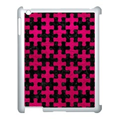 Puzzle1 Black Marble & Pink Leather Apple Ipad 3/4 Case (white) by trendistuff