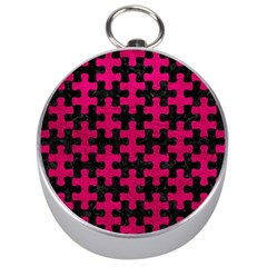 Puzzle1 Black Marble & Pink Leather Silver Compasses by trendistuff