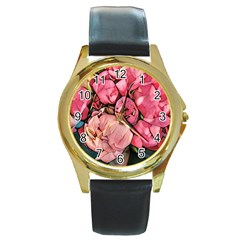 Beautiful Peonies Round Gold Metal Watch by 8fugoso
