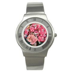 Beautiful Peonies Stainless Steel Watch by 8fugoso
