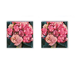 Beautiful Peonies Cufflinks (square) by 8fugoso