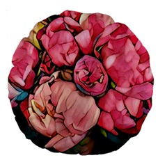 Beautiful Peonies Large 18  Premium Round Cushions by 8fugoso