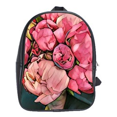 Beautiful Peonies School Bag (xl) by 8fugoso