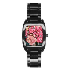 Beautiful Peonies Stainless Steel Barrel Watch by 8fugoso