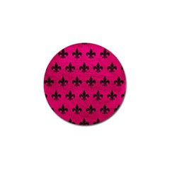 Royal1 Black Marble & Pink Leather (r) Golf Ball Marker by trendistuff
