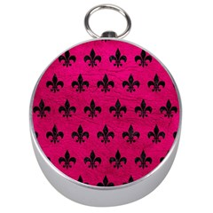Royal1 Black Marble & Pink Leather (r) Silver Compasses by trendistuff