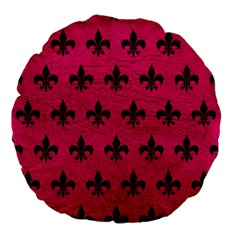 Royal1 Black Marble & Pink Leather (r) Large 18  Premium Flano Round Cushions by trendistuff