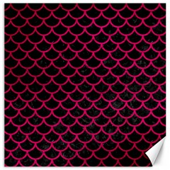 Scales1 Black Marble & Pink Leather (r) Canvas 16  X 16   by trendistuff