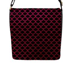 Scales1 Black Marble & Pink Leather (r) Flap Messenger Bag (l)  by trendistuff
