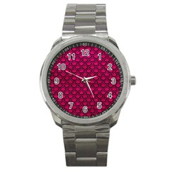 Scales2 Black Marble & Pink Leather Sport Metal Watch by trendistuff