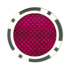 Scales2 Black Marble & Pink Leather Poker Chip Card Guard by trendistuff