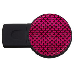 Scales3 Black Marble & Pink Leather Usb Flash Drive Round (2 Gb) by trendistuff