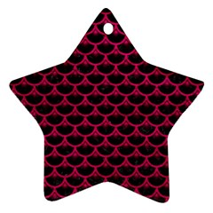 Scales3 Black Marble & Pink Leather (r) Star Ornament (two Sides) by trendistuff