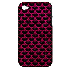 Scales3 Black Marble & Pink Leather (r) Apple Iphone 4/4s Hardshell Case (pc+silicone) by trendistuff