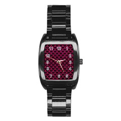 Scales3 Black Marble & Pink Leather (r) Stainless Steel Barrel Watch by trendistuff