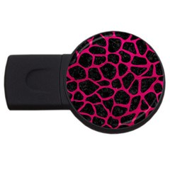 Skin1 Black Marble & Pink Leather Usb Flash Drive Round (4 Gb) by trendistuff