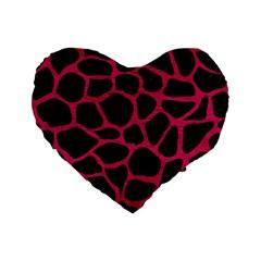 Skin1 Black Marble & Pink Leather Standard 16  Premium Flano Heart Shape Cushions by trendistuff