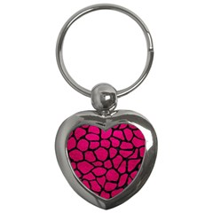 Skin1 Black Marble & Pink Leather (r) Key Chains (heart)  by trendistuff