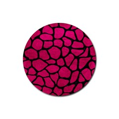 Skin1 Black Marble & Pink Leather (r) Rubber Coaster (round)  by trendistuff