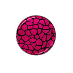 Skin1 Black Marble & Pink Leather (r) Hat Clip Ball Marker (4 Pack) by trendistuff