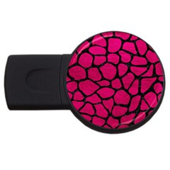 Skin1 Black Marble & Pink Leather (r) Usb Flash Drive Round (4 Gb) by trendistuff