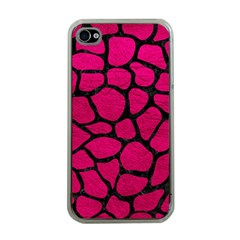 Skin1 Black Marble & Pink Leather (r) Apple Iphone 4 Case (clear) by trendistuff