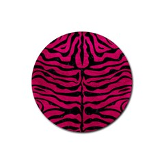 Skin2 Black Marble & Pink Leather Rubber Coaster (round)  by trendistuff