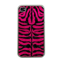 Skin2 Black Marble & Pink Leather Apple Iphone 4 Case (clear) by trendistuff