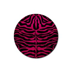 Skin2 Black Marble & Pink Leather (r) Rubber Coaster (round)  by trendistuff