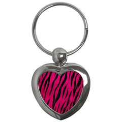 Skin3 Black Marble & Pink Leather Key Chains (heart)  by trendistuff