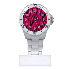 Skin3 Black Marble & Pink Leather Plastic Nurses Watch by trendistuff